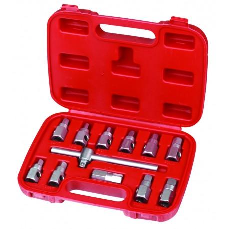 Zestaw kluczy do korków spustowych 12 części